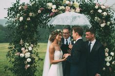 Love this ceremony arch. (Also a great, laid back updo option for rainy days!)