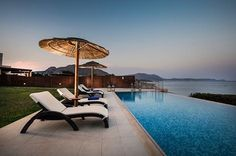 A luxury private collection of beautiful beachfront Villas, all with private access to the beach, amazing sea view and private pools. Beach Villa, Private Pool, Vacation Villas, Home And Away, Outdoor Furniture, Outdoor Decor, Beautiful Beaches, Sun Lounger, Rhodes