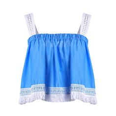 Trendy Spaghetti Strap Lace Tassles Crop Top For Women — 11.74 € Size: M Color: BLUE AND WHITE