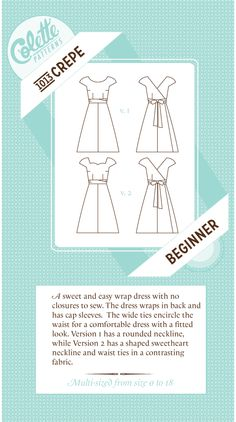 Crepe Dress Pattern No. 1013 by Colette Patterns Sewing Hacks, Sewing Projects, Sewing Ideas, Art Projects, Clothing Patterns, Sewing Patterns, Clothing Ideas, Easy Wrap, Colette Patterns
