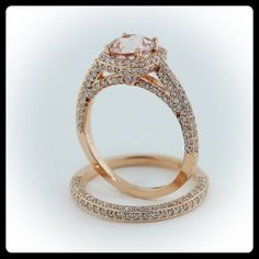 Morganite Wedding Set Engagement Ring and Wedding Band 14k Rose Gold - $2,500 i'm starting to love pale pink diamonds with rose gold.... very princess-y :)