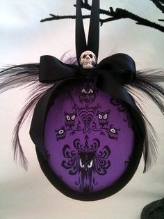 Haunted house Mansion spooky wallpaper face christmas ornament velvet feathers. $14.95, via Etsy.