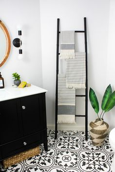 Transitional Black and White Bathroom Reveal Modern Black and White Bathroom
