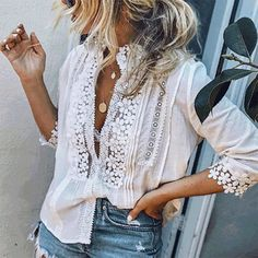Fashion Single Breasted Blouses Woman Shoes average shoe size for 5 5 woman Diy Outfits, Casual Outfits, Oversize Pullover, Size 6 Women, Plus Size Casual, Casual Tops, Blouse Styles, Vans Old Skool, Crochet Lace