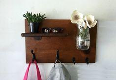Entryway organizer rustic coat rack shelf key by TreetopWoodworks