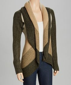 Another great find on #zulily! Olive & Camel Stripe Shawl Collar Cardigan by By Design #zulilyfinds