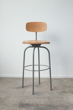 The Barbican Oak and Steel Bar Stool by @Heather Creswell Creswell Campbell House