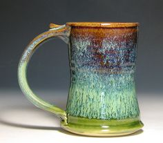 Beer mug tankard stein cup ceramic stoneware glazed in green moss caramel brown by hughes pottery