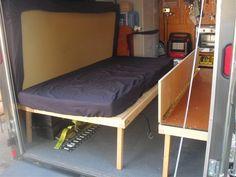 Bildergebnis für murphys bed in a trailer Enclosed Trailer Camper, Cargo Trailer Camper Conversion, Diy Camper Trailer, Small Trailer, Trailer Build, Cargo Trailers, Utility Trailer, Travel Trailers, Bike Trailer