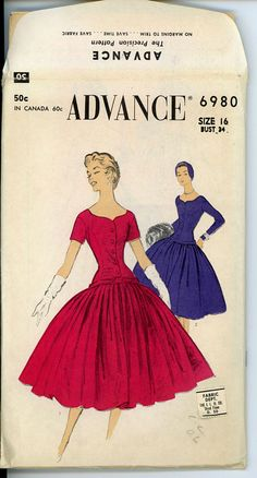 1950s Evening Dress Pattern Advance 6980 Bust 34 di CynicalGirl