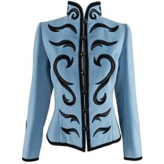 Preowned Yves Saint Laurent Final Collection 2002 Haute Couture Blue... ($3,600) ❤ liked on Polyvore featuring outerwear, jackets, coats, blue, blue velvet jacket, yves saint laurent jacket, yves saint laurent, couture jackets and embroidered velvet jacket