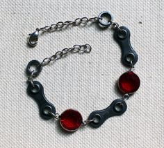 Upcycled Bicycle Chain Bracelet with Vintage by WarbleswithBella on Etsy