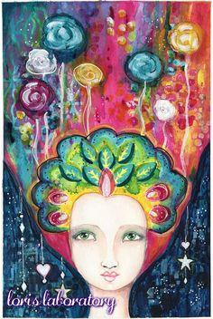 Mixed Media Art Girl Portrait Whimsical Rainbow - YouTube Process Video http://lorislaboratory.com/2016/04/12/video-acrylic-mixed-media-portrait-chrysalis/  #painting #art #mixedmedia #artjournal #portrait #acrylic #watercolor #pencil #teal #blue #pink #youtube #video #process #tutorial