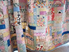 Love quilts with no rhyme or reason or theme. Antique Quilts, Vintage Quilts, Vintage Fabrics, Vintage Sheets, Girls Quilts, Baby Quilts, Patch Quilt, Quilt Blocks, Quilting Projects