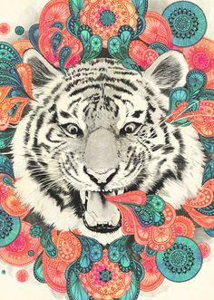 Tiger Art Psychedelic: Laura Graves, Bengal Mandela, Society 6