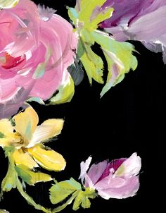 Flowers on Black - acrylic painting by Susan Pepe www.susanpepedesigns.com