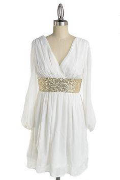 Roman Goddess Long Sleeve Sequin Dress - White + Gold NOW AVAILABLE!