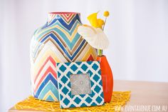 Colorful jar, vase and retro photo frame - Event Avenue