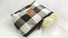 Tartan monochrome make-up pouch