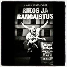 #RikosjaRangaistus #Dostojevski #TeatteriJurkka olipa hyvä keikka! #kirjaploki #julkka #theaterposter #windowshopping #Helsinki 6/4/17