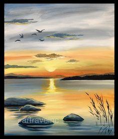 Sunset on the lake beginner painting idea.