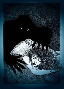 Fear dorcha- Celtic myth: a shadow being that serves directly to the queen of the dead. He can make anyone give in to him and make their wills his.