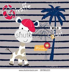 cute giraffe in the jungle vector illustration