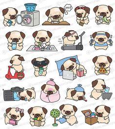 Premium Vector Clipart Kawaii Pug Cute Pugs Planning