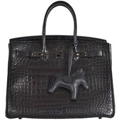 Preowned Hermes So Black Alligator 35cm Birkin Bag W Black Hardware... ($96,900) ❤ liked on Polyvore featuring bags, handbags, black, leather purse, crocodile handbag, crocodile purse, kiss-lock handbags and genuine leather purse