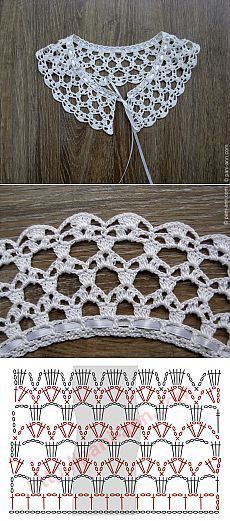 """Really pretty collar,and one of the easier ones to crochet! [ """"Really pretty collar,and one of the easier ones to crochet!"""", """"Ez is gallér"""", """"Crochet lace with chart"""" ] # # # # # # # # # Crochet Collar Pattern, Col Crochet, Crochet Lace Collar, Crochet Diagram, Crochet Chart, Thread Crochet, Lace Knitting, Crochet Motif, Crochet Doilies"""