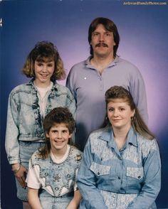 Awkward Family Photo....what is sad is I had a family picture made wearing the same outfit as the woman on the bottom....but had the hair from the girl in the top....oh my!
