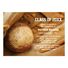 A photograph of a baseball and baseball glove is featured on this sports themed graduation announcement. Perfect for a high school graduation, college graduation, or graduation party invitation!