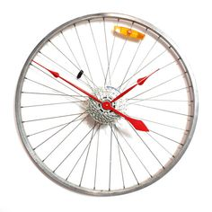 Recycled Bike Wheel clock  Custom hand colours by treadandpedals, $140.00