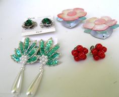 Vintage 4 pair earring lot mixed designs and materials  pierced clip screwback