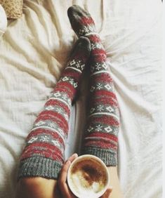 Socks and coffee in bed