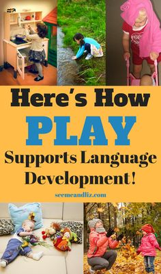 Play is the most natural form of learning and therefore play absolutely does support language development. Here are some tips on play and language development for. Speech Therapy Activities, Language Activities, Toddler Activities, Play Therapy, Art Therapy, Play Based Learning, Learning Through Play, Toddler Language Development, Child Development