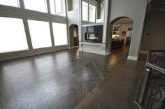 "Hand Scraped White Oak 7"" Buckingham and matching 15"" hardwood tiles by Vintage Hardwood Flooring   #hardwood #hardwoodflooring #whiteoak #handscraped"