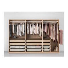 IKEA - PAX Wardrobe white stained oak effect, Nexus Vikedal Ikea Wardrobe Storage, Bedroom Wardrobe, Wardrobe Closet, Storage Room, Bedroom Closet Design, Wardrobe Design, Dressing Ikea, Dressing Design, Armoire Ikea