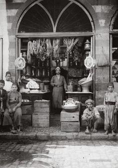"""""""O Jerusalem""""    Palestinian grocers shop...Jerusalem, Palestine Circa 1900-1920! (Palestine)"""