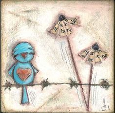 Bluebird mixed media canvas by Diane Duda.