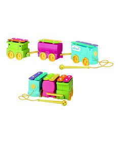 This enchanting toy encourages little learners to make magical music by tapping the six xylophone keys with the included mallet. When they're ready for something else, cuties unfold the instrument and find a fanciful train toy! Perfect for pulling along to adventures, this charming toy keeps kids busy while developing their gross motor skills, mobility and emotional development.