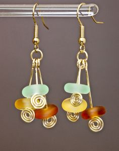 Seaglass and gold wire spiral fashion earrings by by paulbead