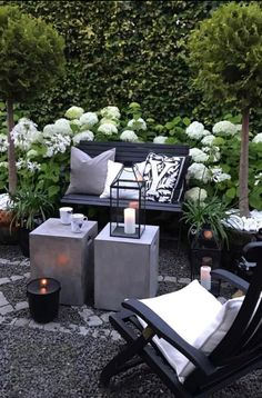 Gardens and cozy candlelight ✨✨ Gorgeous outdoor space and biggest inspo for.:separator:Gardens and cozy candlelight ✨✨ Gorgeous outdoor space and biggest inspo for. Patio Chair Cushions, Patio Chairs, Outdoor Spaces, Outdoor Living, Outdoor Decor, Small Gardens, Outdoor Gardens, Dream Garden, Home And Garden
