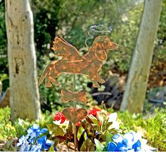Dachshund Grave Marker Garden Plant Stake, Pet Memorial, Metal Garden Art, Copper Garden Art, Metal Yard Art , Outdoor Dog Sculpture