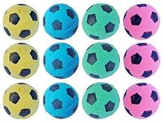 Foam Soccer Balls Pet Cat Fun Soft Sponge Toys Nontoxic Pack of 12 Variety Color -- Continue to the product at the image link.Note:It is affiliate link to Amazon.