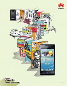 """Huawei Mobile Phone: """"Huawei Ascend P1"""" Print Ad  by Arnold Furnace 2012"""