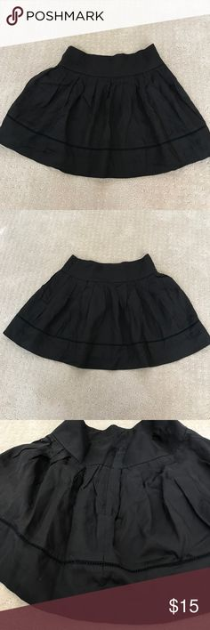 EUC Forever 21 dressy black flounced miniskirt XS Forever 21 dressy black flounced miniskirt junior size XS, excellent preloved condition. See photos for details of knife bleated skirt at cumberband-style waist band & special trim near hemline. This skirt is fully lined & has a concealed side zipper. Gorgeous skirt for your girl to dress up or wear casually! Thanks for shopping my closet!💕 Forever 21 Skirts Mini