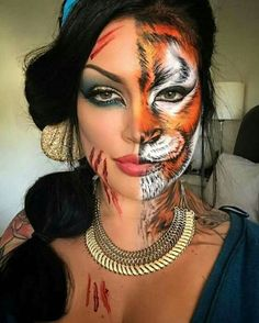 tiger costume makeup - Mindblowing Makeup Ideas To Try This Halloween 29 Unique Halloween Makeup, Halloween Looks, Halloween Costumes, Disney Halloween Makeup, Scary Halloween, Half Face Halloween Makeup, Halloween Ideas, Half Face Makeup, Make Up Gesicht