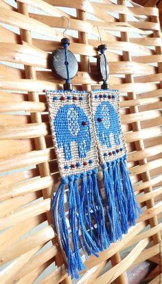 Мастер-класс: создаем этнические серьги «Синие слонята» в технике макраме - Ярмарка Мастеров - ручная работа, handmade