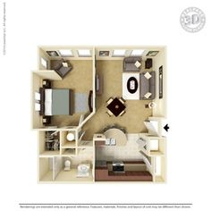 1 Bedroom 736 Sq Ft A2-1 Ooltewah, TN Integra Preserve Floor Plans   Apartments in Ooltewah, TN - Floor Plans